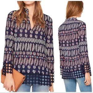 TORY BURCH Embroidered Hem Printed Blouse Tunic